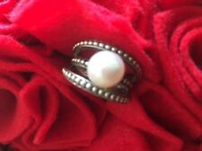 Honora Sterling Silver large Cultured Pearl Rope Design Ring Size 7 Fabulous