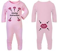 Baby Kissing instruction Funny Gift Romper Babygrow Sleepsuit outfit Cotton 0-12