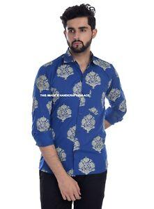 Indian Hand Block Printed Cotton Shirt Men's Button Down Summer Shirt Tops Blue