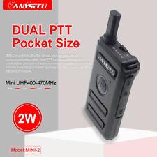 Dual PTT design! New ANYSECU Mini Radio MINI-2 UHF400-470MHz 16CH Walkie Talkie