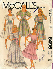 1980's VTG McCall's Misses' Dress and Tie Belt Pattern 8495 Size 12