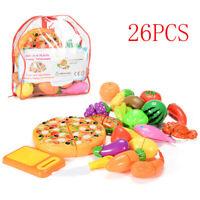 26pcs Kid Pretend Role Play Toys Kitchen Fruit Cake Food Child Cutting Set UK