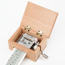 Wooden Mini Music Box DIY Mechanical Hand Crank Craft Music Box Movement Gift