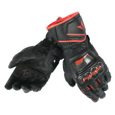 Dainese Carbon Druid D1 Leather Long Black Fluo Red Sport Motorcycle Gloves New
