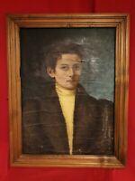 Ancien portrait XIX ème s, huile sur toile