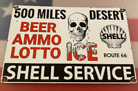 VINTAGE SHELL SERVICE STATION PORCELAIN SIGN GAS PUMP PLATE MOTOR OIL AMMO ICE
