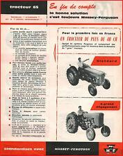 French Original  Prospect  Tracteur Tractor Massey Ferguson MF 65 - 2 PAGES