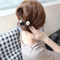 Trendy Women Black Plastic Hairpins Hair Accessories Hair Claws Big Pearl Clips