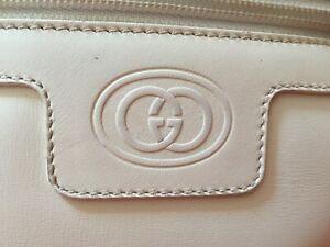 Vintage Gucci White Leather Crossbody Shoulder Camera Bag Purse Handbag EUC