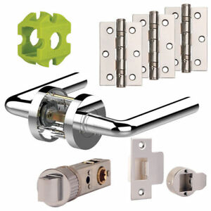 Jigtech RIVA New Door Handles Pack Hinge - Latch Pack Polished - Satin Chrome
