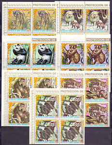 Equatorial Guinea 1976 Fauna of Asia, set of 7 in blk of 4. Complete. MNH
