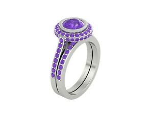 925 Sterling Silver 1.90ct Purple Amethyst Halo Engagement Ring Eternity Band