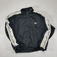 VTG 90s Reebok Black White Full Zip Track Jacket XL Spell Out Sleeve logo poly