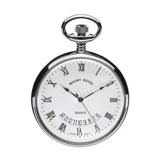 Quartz Calendar Chrome Plated Pocket Watch by Mount Royal- Model No. B30C