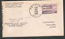 Alaska Aug 1942 WWII emergency mail Seattle censor 3585 cover Tetlin - Fairbanks