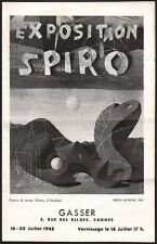 Catalogue Exposition Spiro. Galerie Gasser, Cannes 1948