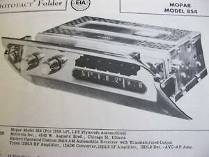 1958 PLYMOUTH MOPAR 854 RADIO PHOTOFACT