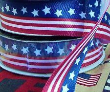 "LOT 2.5-Yds 5/8"" Satin Ribbon.Red,White,Navy-Blue.Stars&Stripes Flag Patriotic"