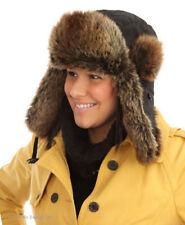 DELUXE LADIES MENS BLACK BROWN FUR TRAPPER HAT WARM SNUG WINTER HAT NEW
