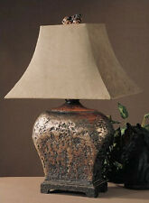 TUSCAN RUSTIC OLD WORLD Bronze & Suede TABLE LAMP