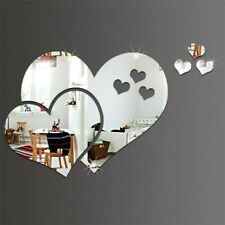 1set/6pcs Heart Acrylic Mirror Wall Sticker Home Room Mural Wall Decal Decor