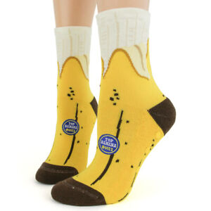 Foot Traffic Yellow Top Banana Slipper Non Skid Socks Ladies Crew Socks New