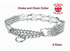 Metal Chrome Spikes and Chain Collar Dog Pinch Half Stops Pulling 6 Sizes
