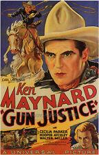 GUN JUSTICE Movie POSTER 27x40 B Ken Maynard Cecilia Parker Hooper Atchley