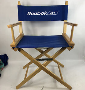 """Reebok Directors Chair Wood Blue Back Folds Up 32.5"""" Tall Advertising Man Cave"""