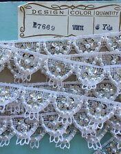 Vintage Novelty Trim - White Lace/Sequin/Bead French Trim - (wedding trim)
