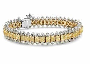Party Wedding Yellow & White Stone Tennis Bracelet Jewelry 935 Argentium Silver
