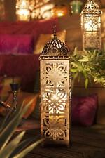 Tall Moroccan Outdoor Garden Lantern Candle Holder Bronze Effect Metal