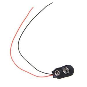 10 Pcs Snap 9V (9 Volt) Battery Clip Connector I Type Cable Black XMAS