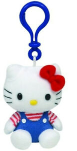 Ty Beanie Hello Kitty Blue Overalls Keyclip Keychain. Ty Uk. Shipping Included