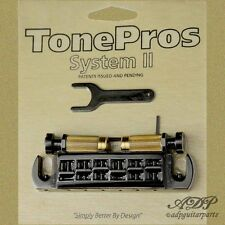 TonePros AVT2G-B CORDIER-CHEVALET WARPAROUND Bridge Fits PRS, GIBSON LP BLACK