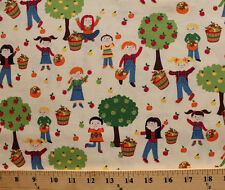 Apple Picking Kids Apples Trees Cream Cotton Fabric Print by the Yard D766.12