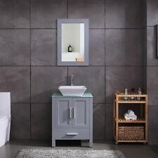 """Homecart 24"""" Grey Bathroom Vanity and Sink Combo Wood Glass Top w/Mirror&Faucet"""