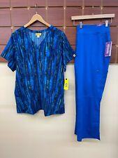 New Royal Blue Print Scrub Set With 2Xl Top & Healing Hands 2Xl Petite Pants Nwt