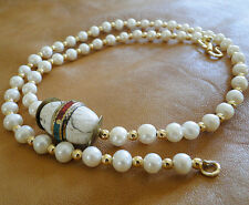 Grade A freshwater, pearls, necklace, handmade, clam giant bead!