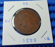 1888 Straits Settlements Queen  Victoria One Cent Coin