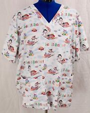Tafford 2X Scrub Top Let it Snow Snowman Holiday Medical Uniform Shirt Plus 2 X