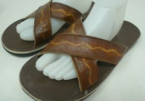 Men's Hand Tooled Criss Cross Strap Leather Sandals Jamaican Made Slides