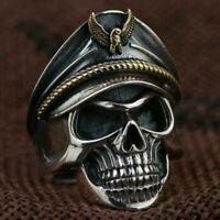 Edelstahl Cool Totenkopf Finger Herrenring Ring Korps Schädel Kopf Öffnung