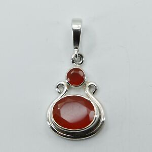 Genuine and Natural CARNELIAN / CORNELIAN Pendant 925 STERLING SILVER #2