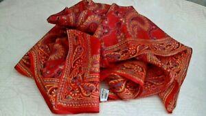 "Hand Spun Pure Silk Scarf India 32"" x 30"" Paisley Print Red Gold Blue Black"
