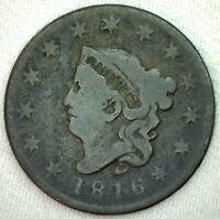 1816 Coronet Head US One Cent Penny Coin 1c US Type Coin Good Large Cent