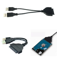 Cable Adapter For 2.5inch HDD USB3.0+ USB2.0 5V Power Supply SATA 22Pin New