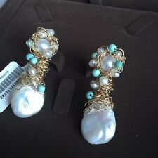 Natural Baroque freshwater pearl 14K Gold Filled earring Original works AAA+