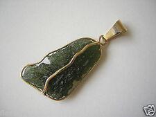 Anhänger mit Moldavit/Meteorit & 585/14 kt Gold Einzelanfertigung 5,4 g