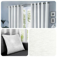 Fusion SORBONNE - Plain White 100% Cotton Eyelet Lined Curtains or Cushions